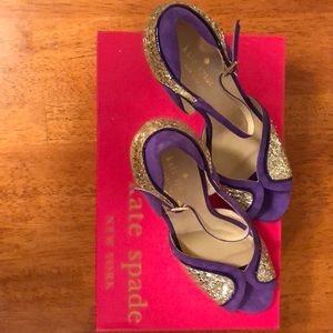 Kate Spade never worn in box purple gold pumps